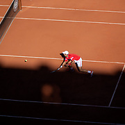 PARIS, FRANCE June 13.   Novak Djokovic of Serbia in action against Stefanos Tsitsipas of Greece on Court Philippe-Chatrier during the final of the singles competition at the 2021 French Open Tennis Tournament at Roland Garros on June 13th 2021 in Paris, France. (Photo by Tim Clayton/Corbis via Getty Images)