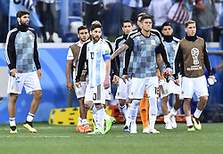 NIZHNY NOVGOROD, June 21, 2018  Lionel Messi (L front) of Argentina reacts after the 2018 FIFA World Cup Group D match between Argentina and Croatia in Nizhny Novgorod, Russia, June 21, 2018. Croatia won 3-0. (Credit Image: © Chen Yichen/Xinhua via ZUMA Wire)