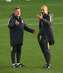 Manchester City manager Josep Guardiola talks with his coach - Mandatory by-line: Matt McNulty/JMP - 31/10/2016 - FOOTBALL - City Football Academy - Manchester, England - Manchester City v Barcelona - UEFA Champions League - Group C