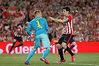 Barcelona´s Ter Stegen (L) and Athletic de Bilbao´s Andoni Iraola during 2014-15 Copa del Rey final match between Barcelona and Athletic de Bilbao at Camp Nou stadium in Barcelona, Spain. May 30, 2015. (ALTERPHOTOS/Victor Blanco)
