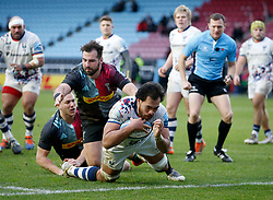 Steven Luatua  of Bristol Bears scores his team's 2nd Try beating Scott Baldwin of Harlequins  - Mandatory by-line: Matt Impey/JMP - 26/12/2020 - RUGBY - Twickenham Stoop - London, England - Harlequins v Bristol Bears - Gallagher Premiership Rugby