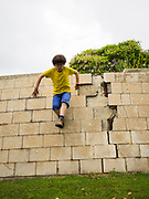 Young boy of ten jumps off a wall.<br /> Humpty Dumpty sat on a wall,<br /> Humpty Dumpty had a great fall<br /> All the king's horses and all the king's men<br /> Couldn't put Humpty together again.