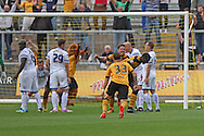 Ismail Yakubu of Newport county turns away to celebrate after scoring his side's first goal. Skybet football league two match, Newport county v AFC Wimbledon at Rodney Parade in Newport, South Wales on Saturday 27th Sept 2014<br /> pic by Mark Hawkins, Andrew Orchard sports photography.