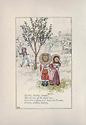 Diddlty, dlddlty, dumpty / The cat run up the plum tree / Give her a plum, and down she'II come /<br /> Diddlty, diddlty, dumpty // from the book Mother Goose : or, The old nursery rhymes by Kate Greenaway, Engraved and Printed by Edmund Evans published in 1881 by George Routledge and Sons London nad New York