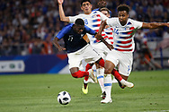 Ousmane Dembele of France and Erik Palmer-Brown of USA and Joe Corona of USA during the 2018 Friendly Game football match between France and USA on June 9, 2018 at Groupama stadium in Decines-Charpieu near Lyon, France - Photo Romain Biard / Isports / ProSportsImages / DPPI