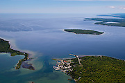 Aerial view of Washington Island, Door County, Wisconsin; Plum Island appears at the center right of the photograph, Detroit Island is on the left, and the Door County Peninsula is in the upper right.