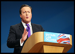 Prime Minister David Cameron  speech at the Conservative Party Conference  in Birmingham, Wednesday, 10th October 2012. Photo by: Stephen Lock / i-Images
