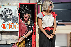 Actors from the Smallet Theatre in the World start a performance in the Essex town of South Woodham Ferrers.