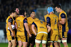 Bristol Rugby forwards huddle together during a break in play - Mandatory byline: Patrick Khachfe/JMP - 07966 386802 - 20/10/2016 - RUGBY UNION - The Recreation Ground - Bath, England - Bath Rugby v Bristol Rugby - European Rugby Challenge Cup.