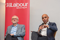© Licensed to London News Pictures. 15/02/2020. Bristol, UK. Labour leader JEREMY CORBYN attends the Labour South West regional conference at the Bristol Marriott City Centre. Pictured taking part in a Q&A session for conference delegates alongside Bristol Mayor MARVIN REES from the Labour party. Marvin Rees is standing again for the post of Bristol elected Mayor alongside the local council elections in May. Photo credit: Simon Chapman/LNP.