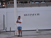 """**EXCLUSIVE**.Ron Perlman at Gustavia Port infront of his Yacht """"Ultima III"""".St. Barth, Caribbean.Sunday, December, 28, 2003.Photo By Celebrityvibe.com/Photovibe.com.."""
