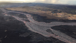 Handout photo of One portion of the braided section of the fissure 8 lava channel. Kilauea Volcano, HI, USA, June 29, 2018. Photo by USGS via ABACAPRESS.COM