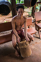 Palawan Tribe Boy with Drum -  The Palawano tribal people, also known as the Palawan or the Pala'wan tribe, are an indigenous ethnic group in Palawan. Palawanos have not been very assimilated into Filipino society and few speak Tagalog. Typically they keep to themselves in thier mountainous enclaves. Palawanos are a  vulnerable tribe because they lack basic education even today.  Activists claim that the government wants to keep the Palawan tribe in a primitive state as a tourist attraction. The Palawano diet is made up of rice, bananas, cassava, breadfruit, pork from wild pig, fruit andfreshwater fish.