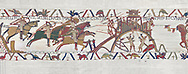 Bayeux Tapestry scene 19 :  Duke Willam and his army attack Dinan in Britany. BYX19 .<br /> <br /> If you prefer you can also buy from our ALAMY PHOTO LIBRARY  Collection visit : https://www.alamy.com/portfolio/paul-williams-funkystock/bayeux-tapestry-medieval-art.html  if you know the scene number you want enter BXY followed bt the scene no into the SEARCH WITHIN GALLERY box  i.e BYX 22 for scene 22)<br /> <br />  Visit our MEDIEVAL ART PHOTO COLLECTIONS for more   photos  to download or buy as prints https://funkystock.photoshelter.com/gallery-collection/Medieval-Middle-Ages-Art-Artefacts-Antiquities-Pictures-Images-of/C0000YpKXiAHnG2k