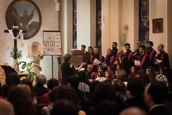 20 April 2019, Jerusalem: The choir sings during Holy Saturday service at Saint James' Church in Beit Hanina, Jerusalem.