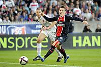 FOOTBALL - FRENCH CHAMPIONSHIP 2011/2012 - L1 - PARIS SAINT GERMAIN v DIJON FCO  - 23/10/2011 - PHOTO JEAN MARIE HERVIO / DPPI - KEVIN GAMEIRO (PSG) / CHAHER ZAROUR (DIJ)