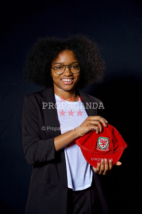 NEWPORT, WALES - Saturday, May 27, 2017: Bailiey Cordice with her Under-16 Wales cap at the Celtic Manor Resort. (Pic by David Rawcliffe/Propaganda)
