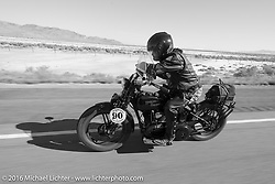 Mike Carson riding his 1924 Harley-Davidson JE during stage 12 (299 m) of the Motorcycle Cannonball Cross-Country Endurance Run, which on this day ran from Springville, UT to Elko, NV, USA. Wednesday, September 17, 2014.  Photography ©2014 Michael Lichter.