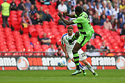 Forest Green Rovers Manny Monthe(3) tackles Tranmere Rovers Adam Buxton(22) during the Vanarama National League Play Off Final match between Tranmere Rovers and Forest Green Rovers at Wembley Stadium, London, England on 14 May 2017. Photo by Shane Healey.