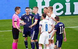 Players appeal to Referee Daniel Siebert during the UEFA Euro 2020 Group D match at Hampden Park, Glasgow. Picture date: Monday June 14, 2021.