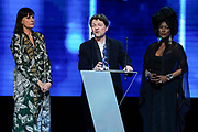 Brussels , 01/02/2020 : Les Magritte du Cinema . The Academie Andre Delvaux and the RTBF, producer and TV channel , present the 10th Ceremony of the Magritte Awards at the Square in Brussels . <br /> Pix : Laurence Bibot , dressed by Jean-Paul Lespagnard; Frederic Vercheval; Khadja Nin<br /> Credit : Daina Le Lardic / Isopix