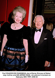 The COUNTESS DE CHAMBRUN, she is Diana, Princess of Wales' step mother, and MR JEFFREY ROSE,  at a dinner in London on February 20th 1997.LWO 22