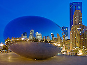 Cloud Gate, know as the Bean, reflects the buildings of downtown Chicago in the evening light. Missoula Photographer