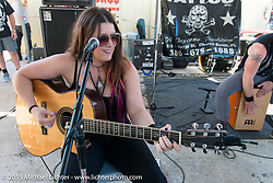 Jasmine Cain performing at the Chopper Time Old School Bike Show at Willy's Tropical Tattoo during the Biketoberfest Rally. Ormond Beach, FL, USA. October 15, 2015.  Photography ©2015 Michael Lichter.