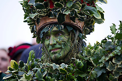 © Licensed to London News Pictures. 06/01/2013. London, UK. A member of the 'Bankside Mummers' dressed as the 'Holly Man' is seen during the annual 'Twelfth Night' Celebration in London today (06/01/13). The tradition, a pagan celebration of the new year and the end if Christmas, takes place every year at Bankside outside the Globe Theatre and sees the actors of the Bankside Mummers perform for the public. Photo credit: Matt Cetti-Roberts/LNP