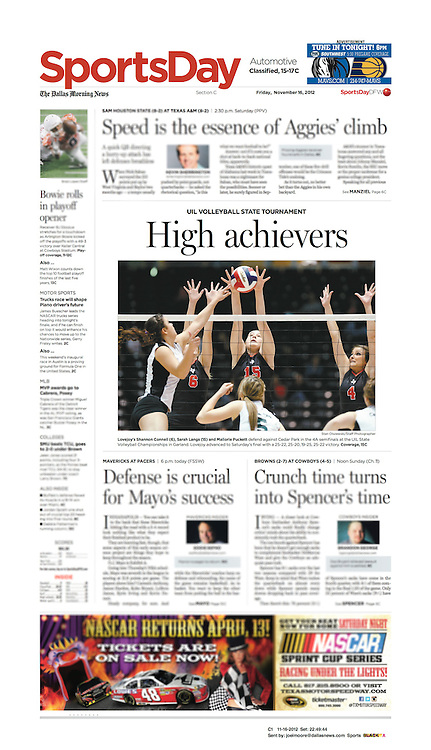 The Dallas Morning News -Sports Day, C1, November 11, 2012.