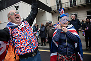 Pro Brexit Leave supporters singing and dancing as they ggather in Westminster on Brexit Day as the UK prepares to leave the European Union on 31st January 2020 in London, England, United Kingdom. At 11pm on Friday 31st January 2020, The UK and N. Ireland will officially leave the EU and go into a state of negotiations as to the future arrangement and trade agreement, while adhering to EU rules until the end of 2020.
