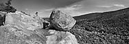 Bubble Rock, A Glacial Erratic Boulder Precariously Perched Atop A Mountain At Acadia National Park, Maine, USA
