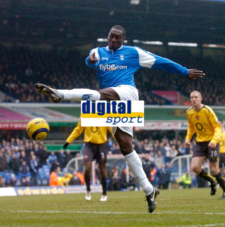 Photo: Glyn Thomas.<br />Birmingham City v Arsenal. The Barclays Premiership. 04/02/2006.<br />Birmingham's Emile Heskey shoots.