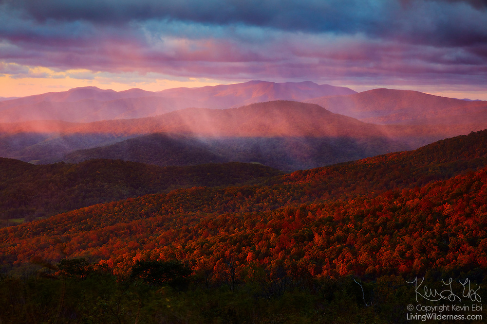 The red light of sunrise shines through a heavy rainstorm that partially obscures the view of the Blue Ridge Mountains from Ridge View in Shenandoah National Park, Virginia.
