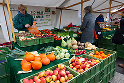 Stall selling organic vegetables at weekend market in Kollwitzplatz, Prenzlauer berg, Berlin, Germany
