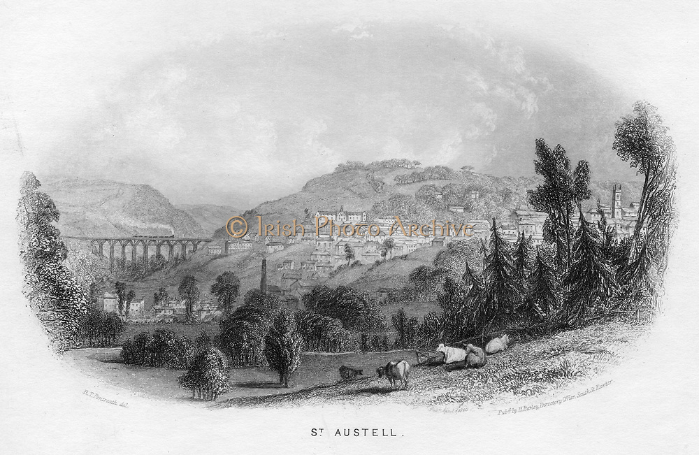 St Austell', 1860. Cornwall Railway, later Great Western Railway (GWR) at St Austell, showing one of Isambard Kingdom Brunel's (1806-1859) timber viaducts. Built from Kyanzed yellow Baltic pine from Memel, the timberwork had a life of 30 years. Illustration by RT Pentreath for 'Views of Devonshire and Cornwall' by Henry Besley. (Exeter c1860). Engraving.