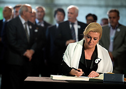 11.07.2015, Sarajevo, BIH, Srebrenica Massaker, 20. Jahrestag, im Bild Croatian President Kolinda Grabar Kitarovic arrived in Potocari where she signed a book dedicated to the victims of the 1992-1995 war, in the village of Potocari near Srebrenica. EXPA Pictures © 2015, PhotoCredit: EXPA/ Pixsell/ STR-4717/HaloPix<br /> <br /> *****ATTENTION - for AUT, SLO, SUI, SWE, ITA, FRA only*****