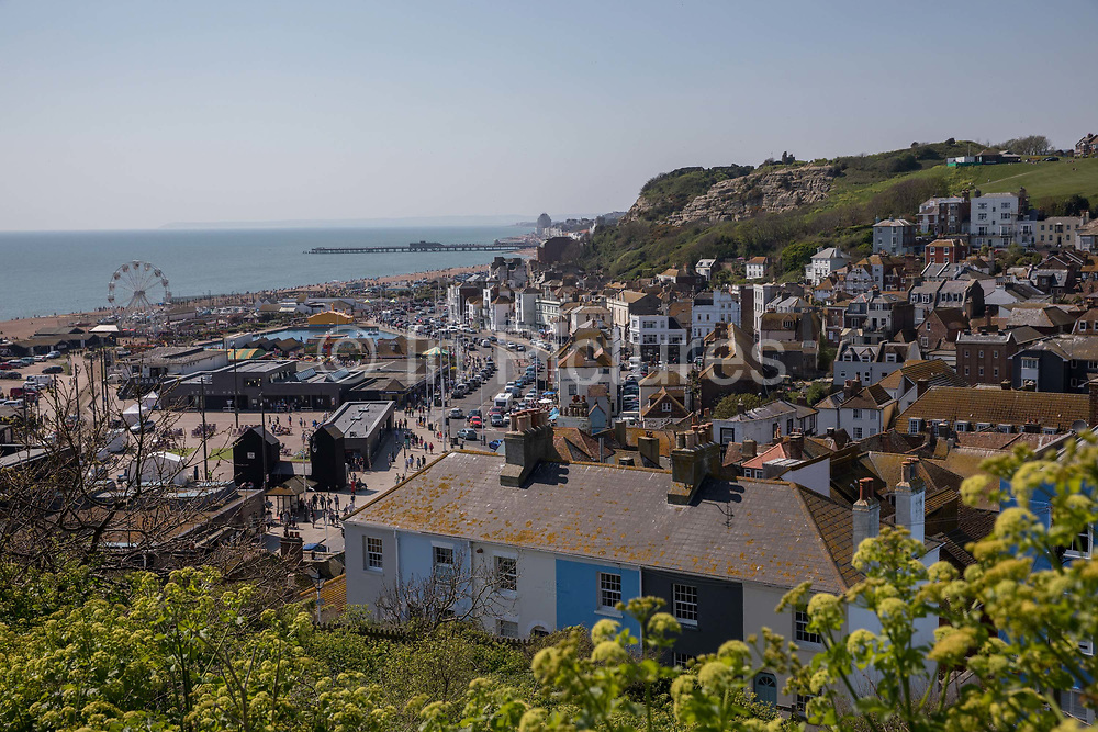 Views overlooking the old town of Hastings and seafront, from East Hill, on the 20th April 2019 in Hastings in the United Kingdom. Hastings is a town on England's southeast coast, its known for the 1066 Battle of Hastings.