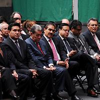 Toluca,  Mex -  Felix Adrian Fuentes Villalobos, Apolinar Mena Vargas y Carlos Cadena durante la presentacion del Plan de  Desarrollo Estatal 2011-2017 del gobernador Eruviel Avila Villegas.   Agencia MVT / Jose Hernadez