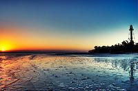 The rising sun at Lighthouse Point on Sanibel Island.
