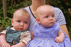 Closeup portrait of twin babies sitting on mother's lap outside,