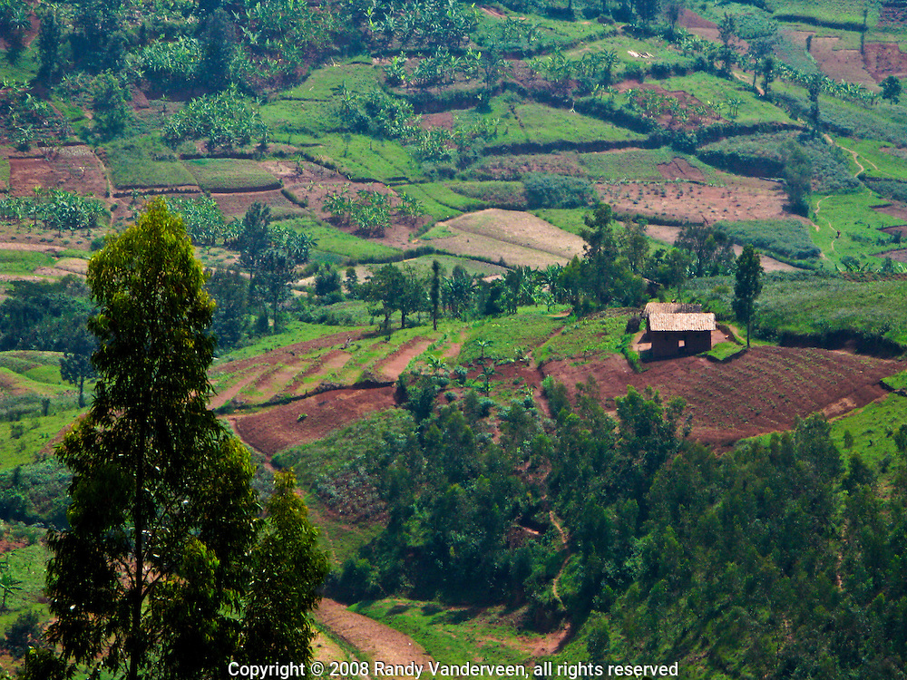 Rwanda- Farm land forms a patchwork in  in a valley west of Butare, Rwanda. The fields are terraced to preven the hillsides from eroding during the rainy seasons.