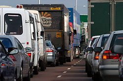 Traffic jam on road approaching Gateshead Tyne Bridge Newcastle Tyneside UK