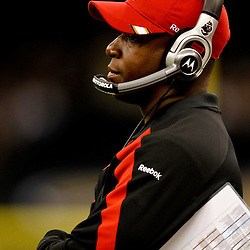 November 5, 2011; New Orleans, LA, USA; Tampa Bay Buccaneers head coach Raheem Morris watches from the sideline during the first quarter of a game against the New Orleans Saints  at the Mercedes-Benz Superdome. Mandatory Credit: Derick E. Hingle-US PRESSWIRE