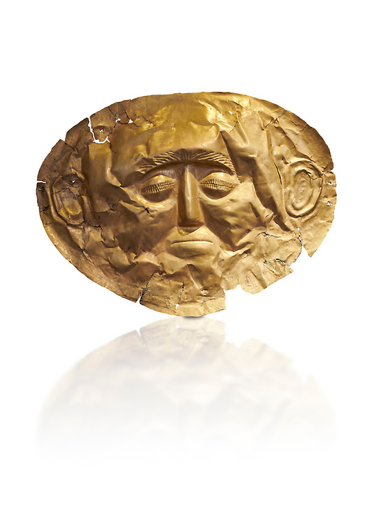 Mycenaean gold death mask, Grave Cicle A, Mycenae, Greece. National Archaeological Museum of Athens.  White background.<br /> <br /> This death mask is typical of the other Mycenaean gold death masks fround in Grave V. made from a sigle sheet of gold the shape of the face would have been hammered ot against wood. two holes either side of the gold mask allowed it to be held over the dead mans face. As weapons were found in the graves of Grave Circle A at Mycenae, those buried here wer warriors and maybe kings as the grave goods buried with them were of great value. 16th century BC .<br /> <br /> If you prefer to buy from our ALAMY PHOTO LIBRARY  Collection visit : https://www.alamy.com/portfolio/paul-williams-funkystock/mycenaean-art-artefacts.html . Type -   Athens    - into the LOWER SEARCH WITHIN GALLERY box. Refine search by adding background colour, place, museum etc<br /> <br /> Visit our MYCENAEN ART PHOTO COLLECTIONS for more photos to download  as wall art prints https://funkystock.photoshelter.com/gallery-collection/Pictures-Images-of-Ancient-Mycenaean-Art-Artefacts-Archaeology-Sites/C0000xRC5WLQcbhQ