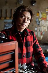 Ken Kentaro in his Hot Chop Speed Shop in Kyoto, Japan. Friday, December 7, 2018. Photography ©2018 Michael Lichter.