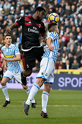 February 10, 2018 - Ferrara, Italy - Franck Kessie of Milan is challenged by Lorenco Simić of SPAL during the Serie A match between SPAL and AC Milan at Paolo Mazza Stadium, Ferrara, Italy on 10 February 2018. (Credit Image: © Giuseppe Maffia/NurPhoto via ZUMA Press)