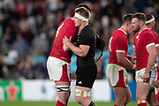 Adam Beard of Wales greets to Sam Cane of New Zealand for the victory after the Rugby World Cup bronze final match between New Zealand and Wales,  Friday, Nov, 1, 2019, in Tokyo. New Zealand defeated Wales 40-17.( Flor Tan Jun/Espa-Images-Image of Sport)