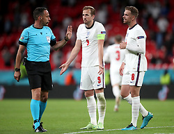 England's Harry Kane (centre) and Jordan Henderson appeal to Referee Artur Manuel Soares Dias after a goal was ruled out during the UEFA Euro 2020 Group D match at Wembley Stadium, London. Picture date: Tuesday June 22, 2021.