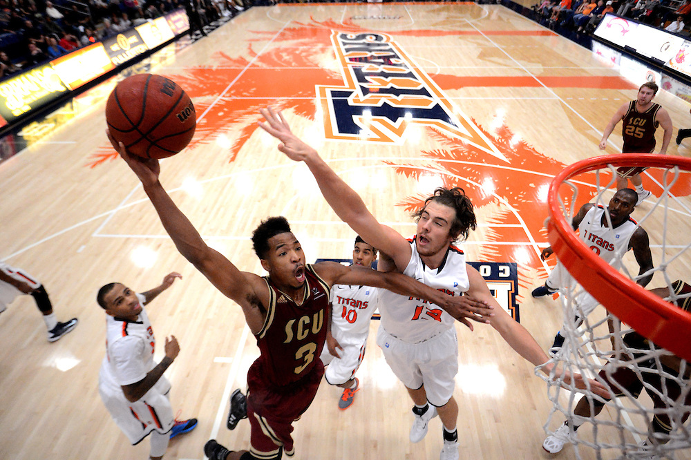 11/16/13 8:20:15 PM --- BASKETBALL SPORTS SHOOTER ACADEMY --- FULLERTON, CA: Santa Clara University plays Cal State Fullerton. Photo by Chynna Denny, Sports Shooter Academy